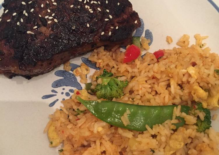 Recipe of Any night of the week Asian Sirloin Steak with Thai Drunken Fried Rice
