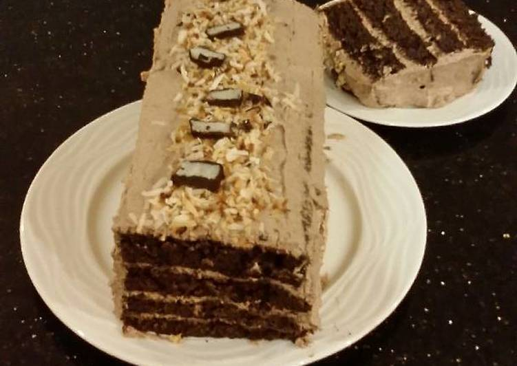 Chocolate Layer Torte with Coconut Cream Filling and Frosting
