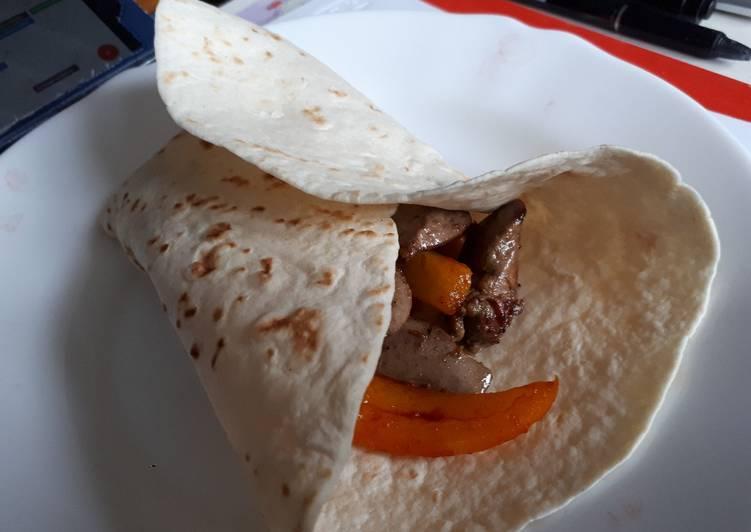 Tacos de foie de lapin aux légumes