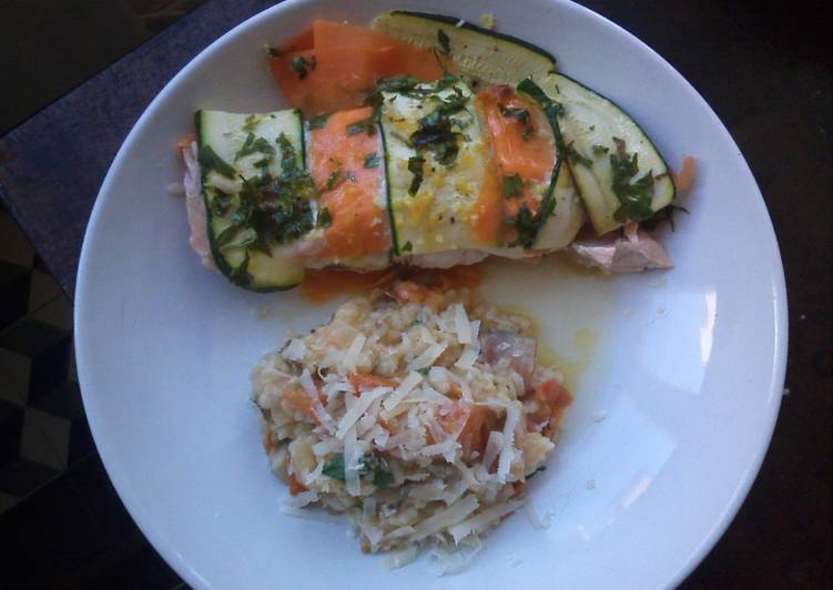 Recipe of Perfect Salmon bake & Roasted tomatoes risotto