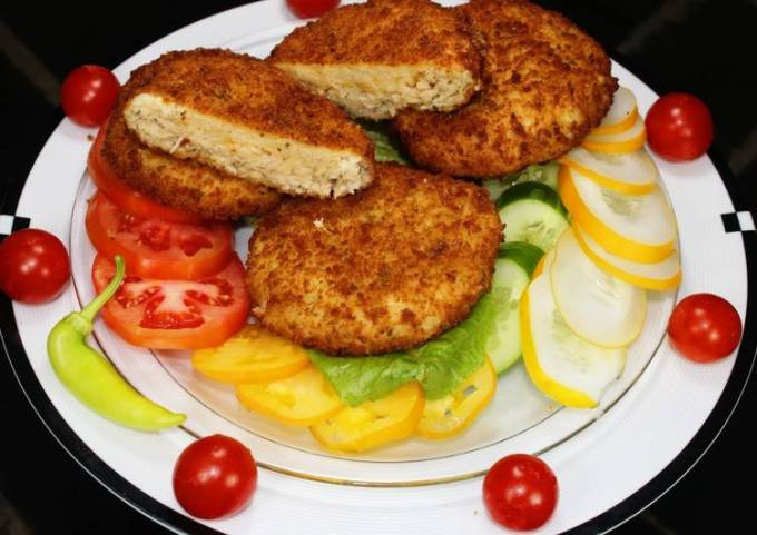 Deep Fried Chicken Patties Stuffed with Mozzarella and Cheddar