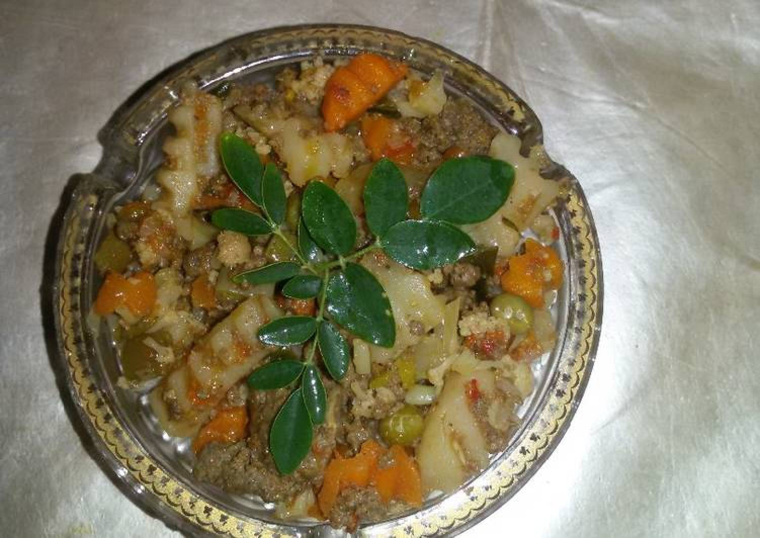 Veggies with mince meat