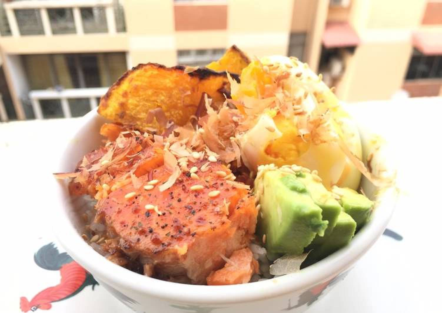Salmon With Pumpkin And Avocado Rice Bowl