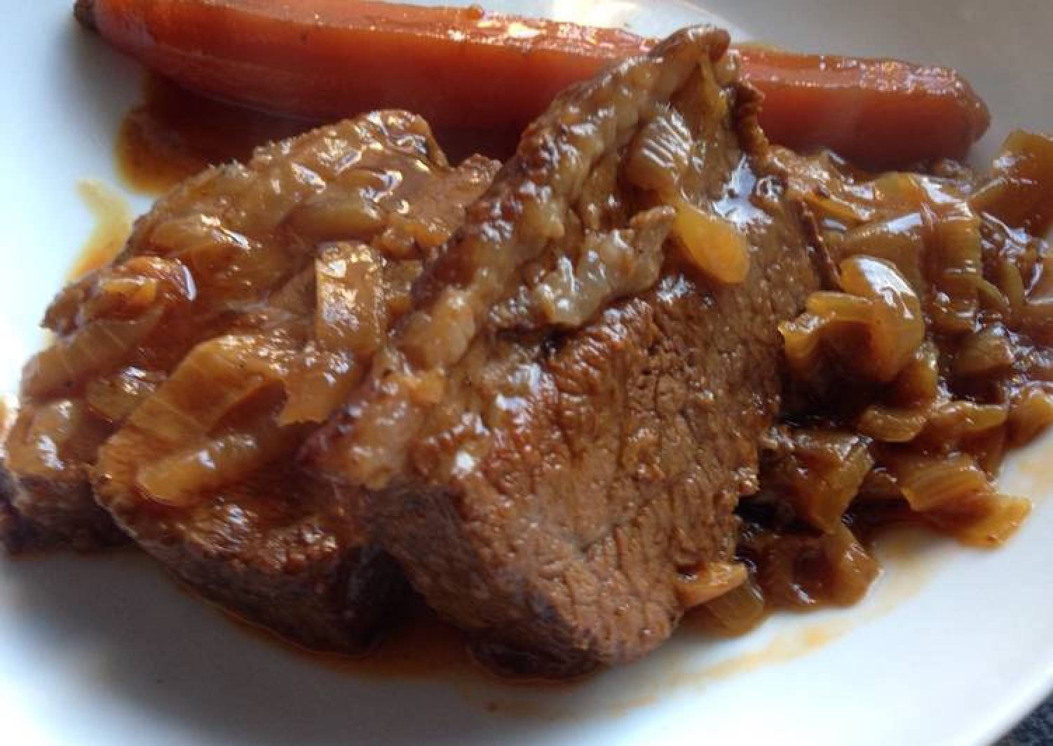 Slow Cooked Beef Brisket with Onions