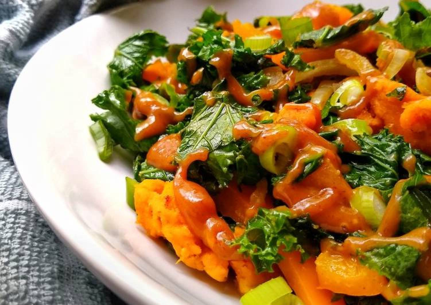 Sweet Potato & Kale Stir Fry With A Peanut Sesame Dressing