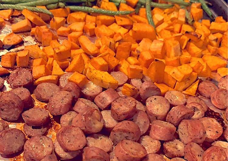 Roasted chicken sausage sweet potatoes and fresh green beans