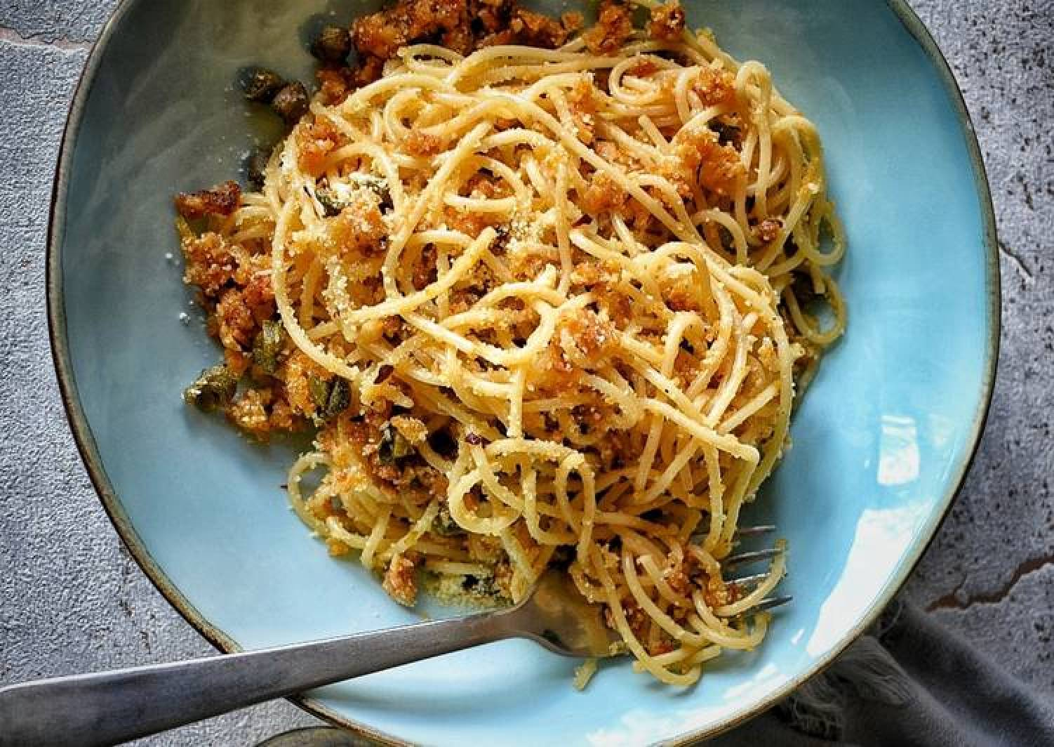 Spaghetti With Capers, Anchovies & Breadcrumbs
