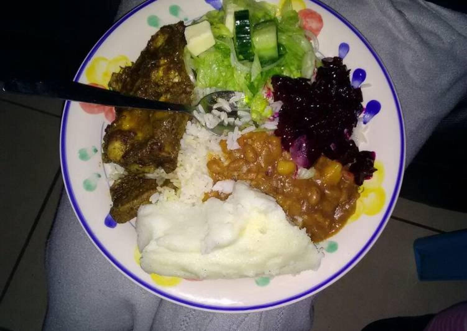 Soft Pap,rice,salads and t-bone