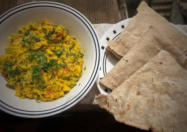 How to Prepare Perfect Spring Onion Zunka with jowar bhakri