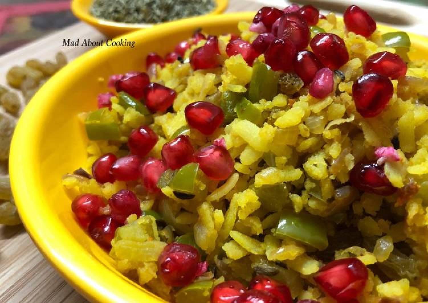 Pomegranate & Fennel Seed Poha – Indori Poha