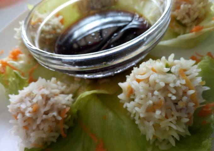 Simple Way to Make Homemade Chicken rice balls with soy dip