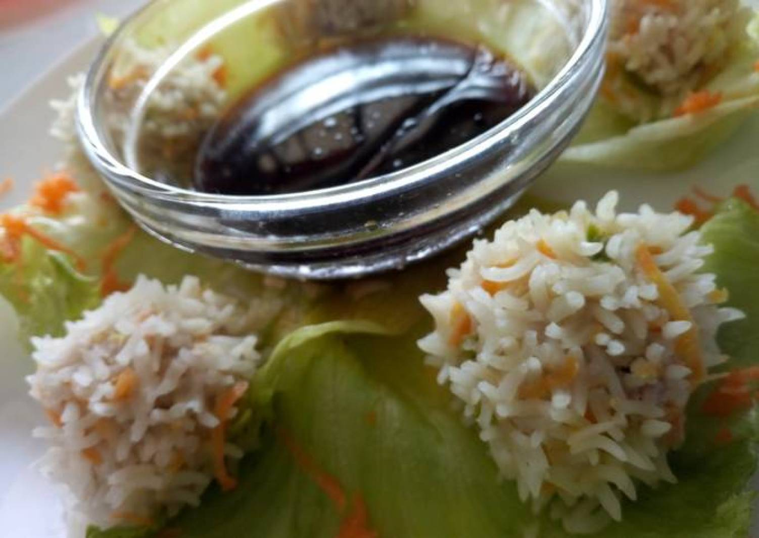 Chicken rice balls with soy dip