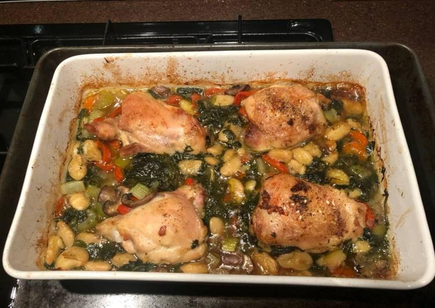 Chicken & butter bean bake