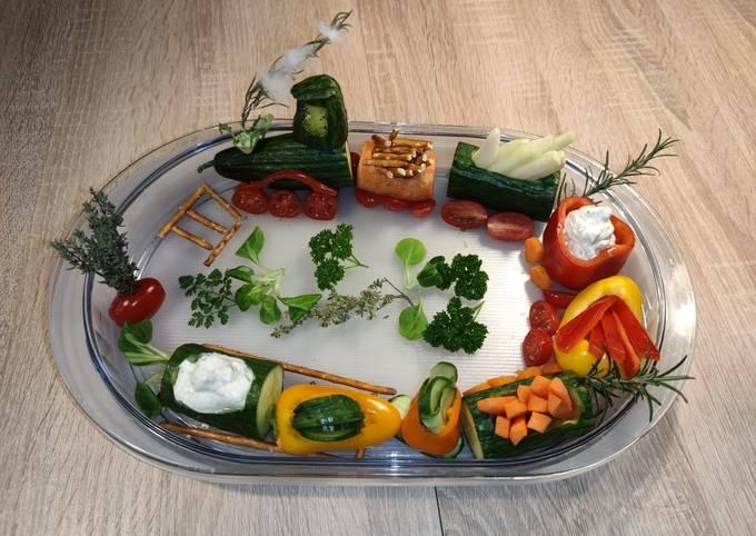 Schritte Um Preisgekrönte Gemüse-Zug mit Dip zu machen