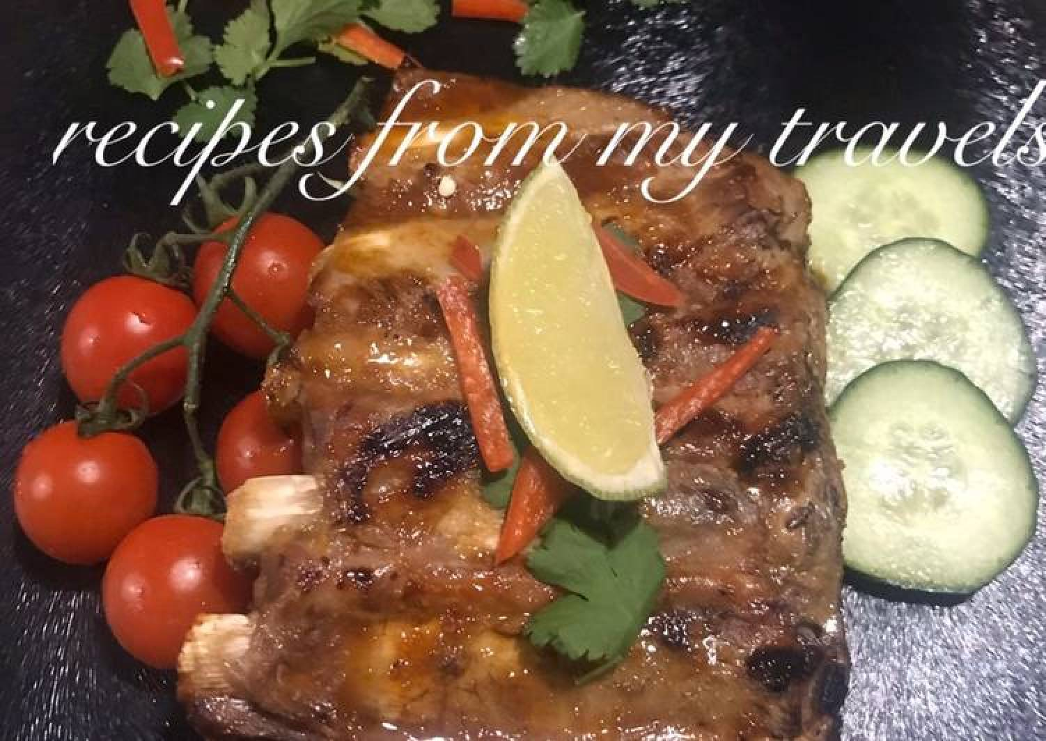 Whisky (non-alcoholic) infused pork ribs with chilli & lime glaze