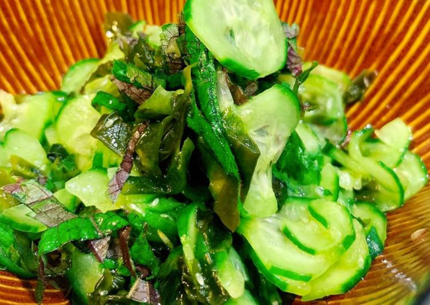 Cucumber with Shiso sweet vinaigrette salad