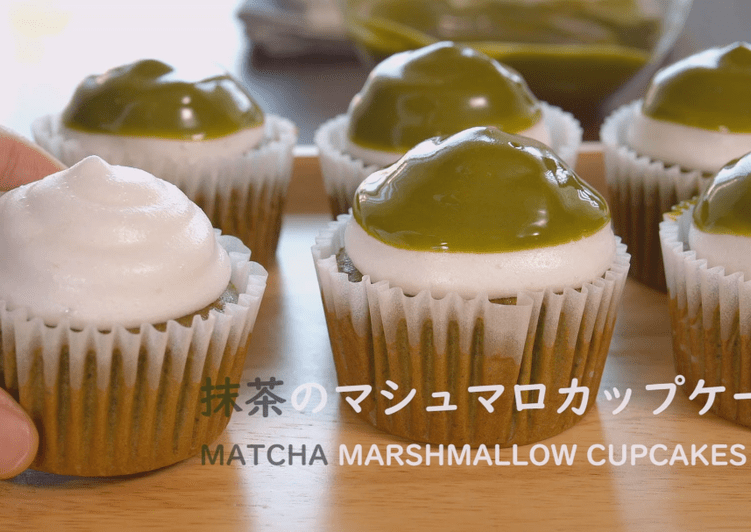 Matcha Marshmallow Cupcakes ★ Recipe Video★