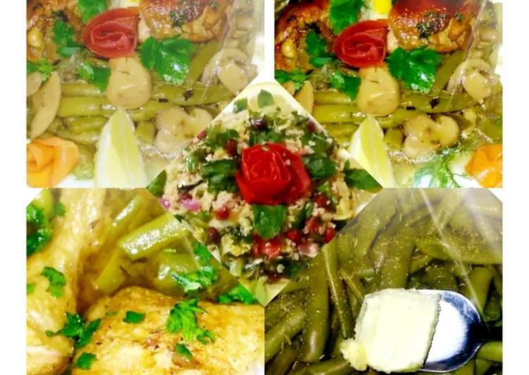 Haricots verts au poulet,champignons