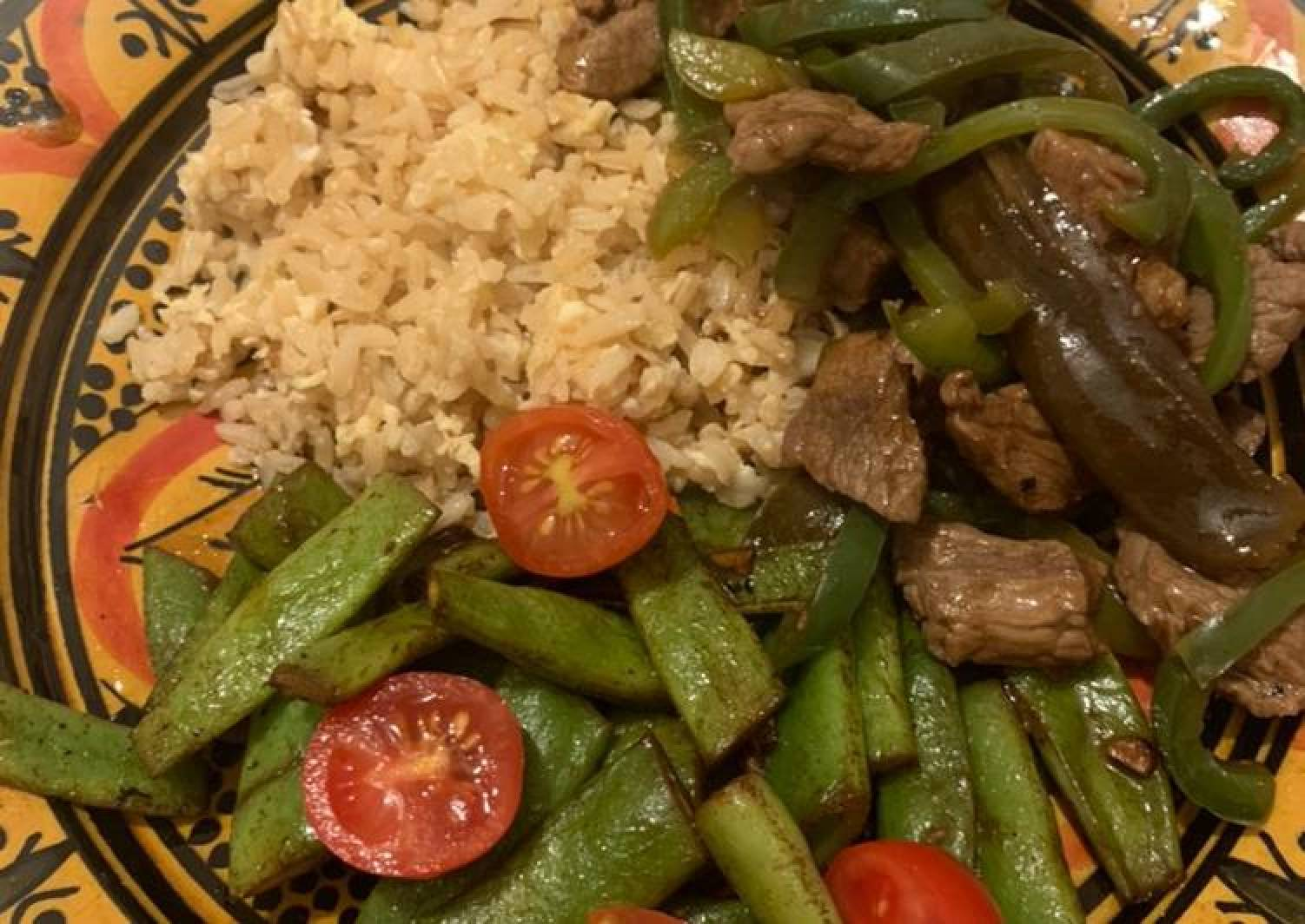 Meal Prep, Stir Fry Beef with Green Pepper