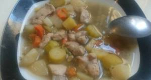 Vegetables and chicken soup