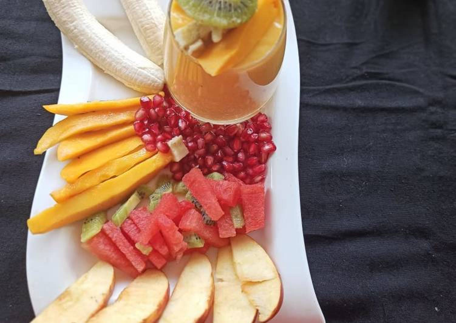 Fresh Fruits and Mango juice