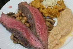 Recipe Brad's flank steak w/ pumpkin risotto & smoky cauliflower mash Delicious