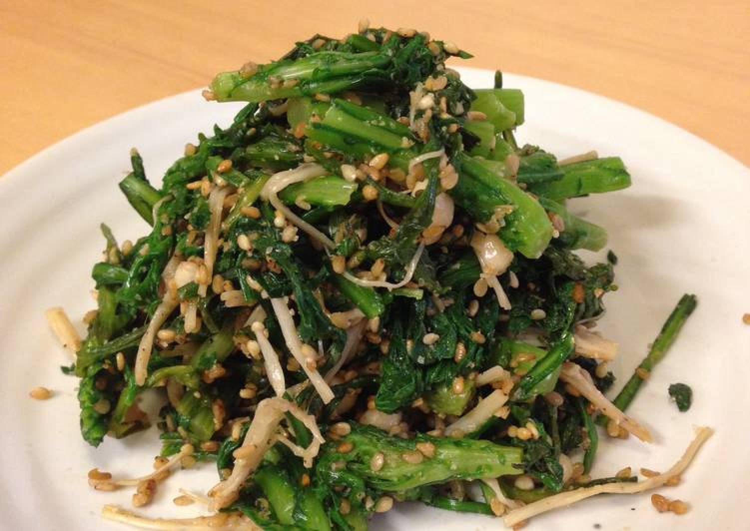 Komatsuna and Enoki Mushrooms with Sesame Sauce