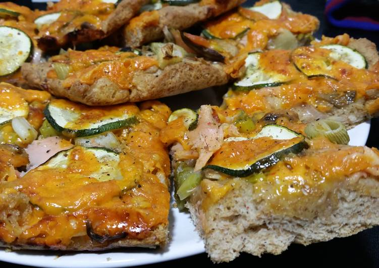 Whole-wheat Pizza with Smoked Salmon Courgette and Chillies