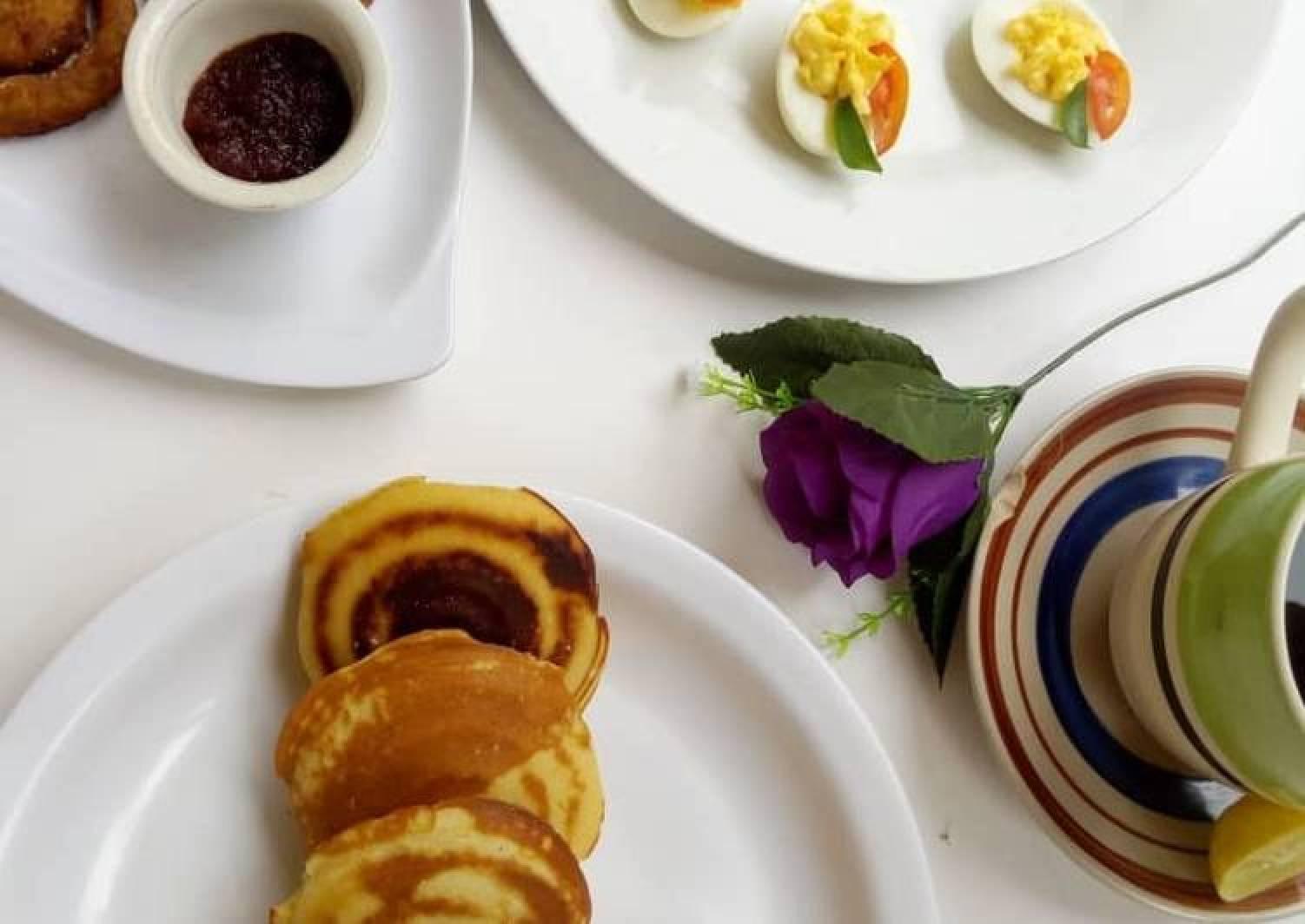 Devilled eggs, Japanese Pancakes, Smiley potato Pakora