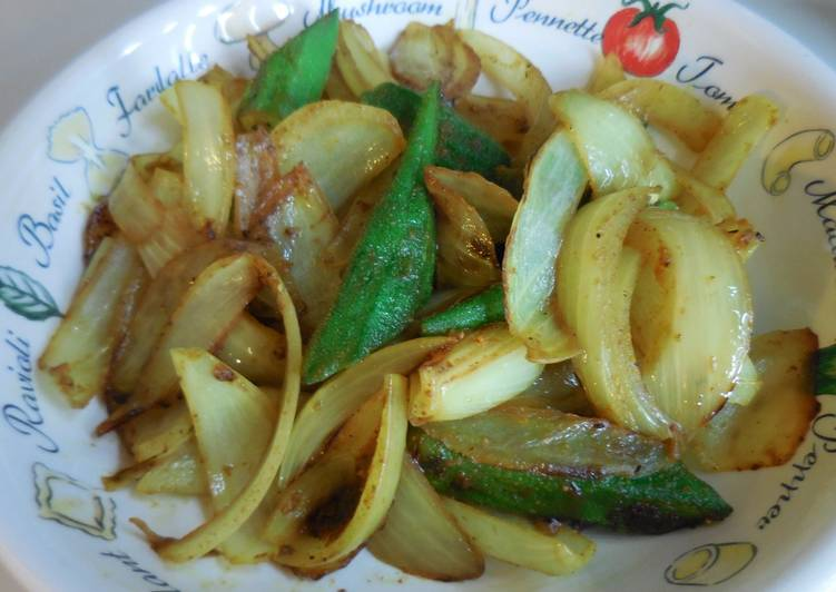 Curry flavored stir-fry with okra & onion