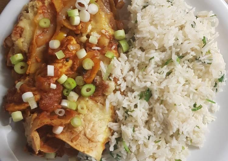 Vegetarian enchiladas with coriander lime rice