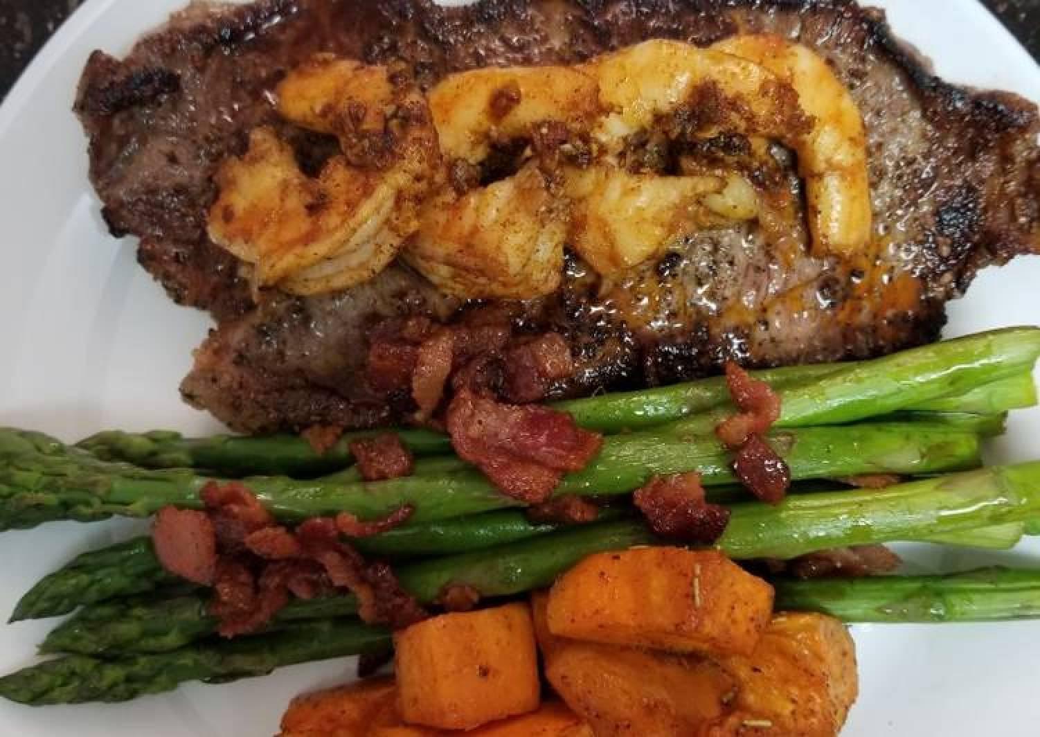 Cajun Shrimp Steak with Honey Glazed Bacon Asparagus