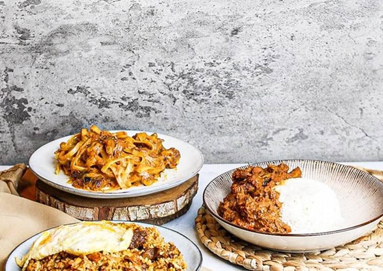 MASAKAN RENDANG KREATIF ANTI RIBET ❤️ Nasi goreng, spaghetti, nasi anget 👌🏻