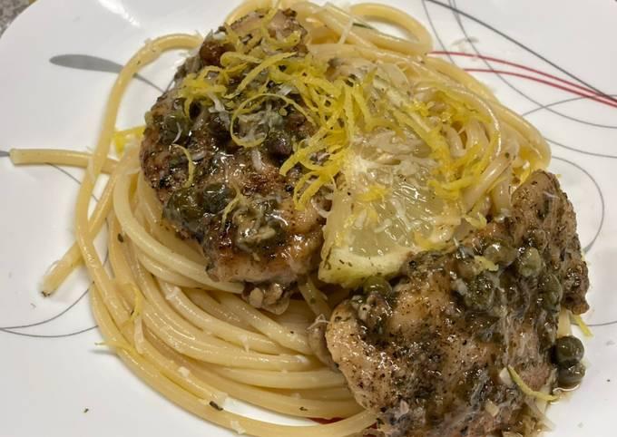 Recipe of Delicious Chicken Piccata over Lemon Basil Pasta