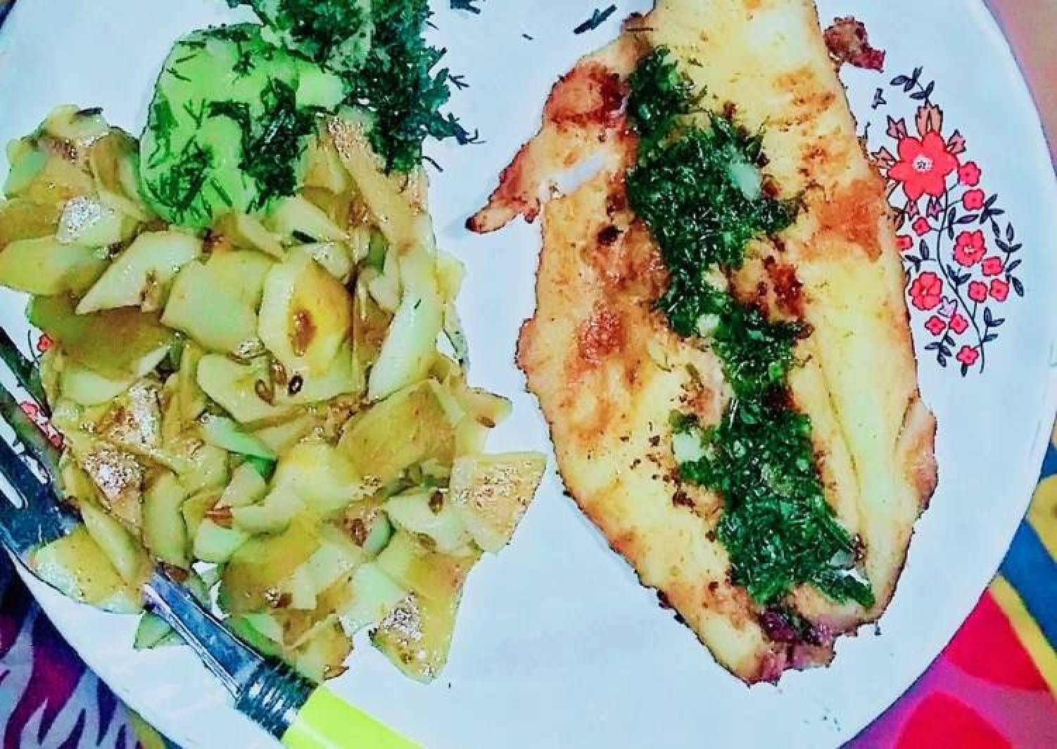 Italian Grill Fish with Skin Potatoes Salad and thyme dill Sauce