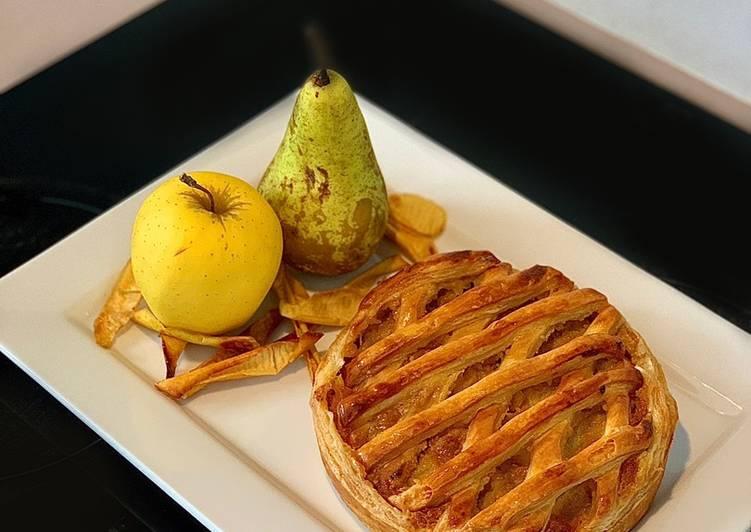 Galette pommes, poire, chocolat (sans oeufs) et ses chips de pelures de pommes