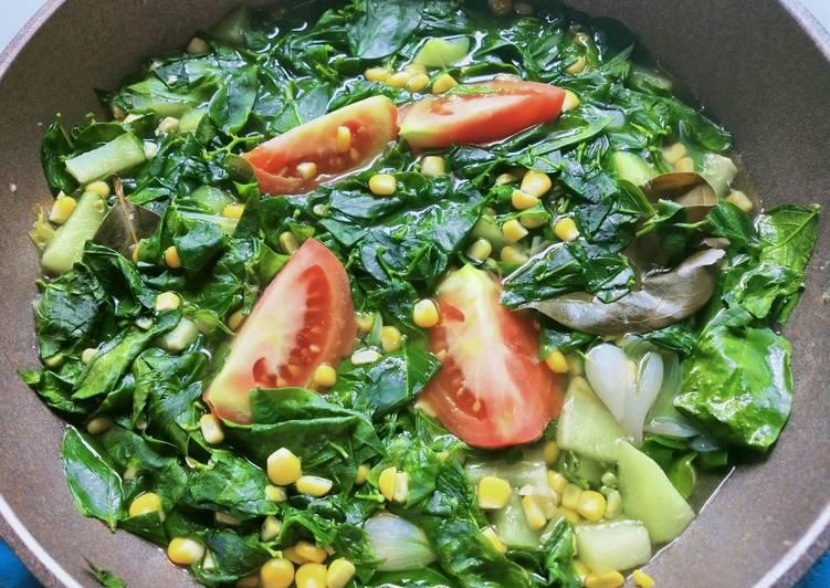Sayur bening katuk, jagung dan labu siam
