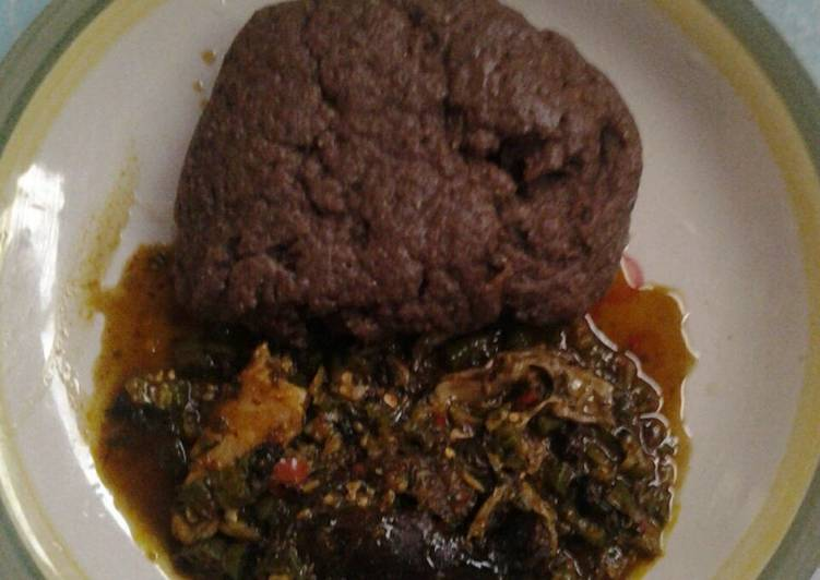 Recipe of Homemade Okro with black amala