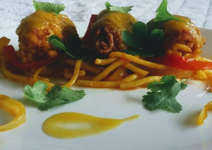 Plantain Kebabs with spaghetti ponzu