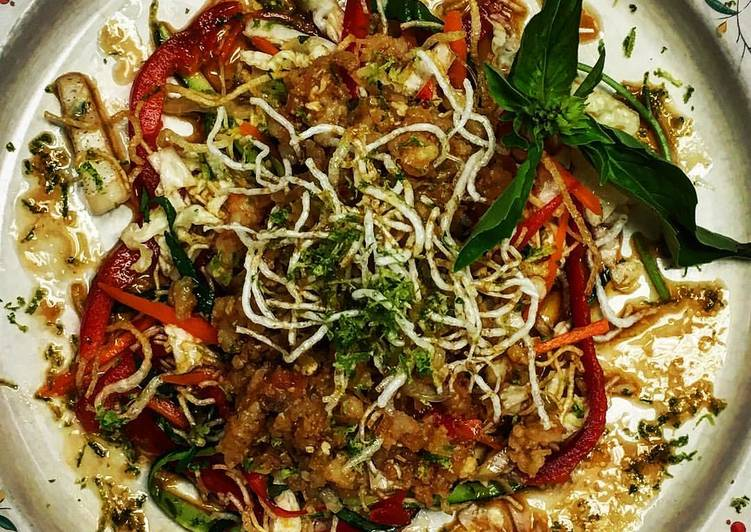 Thai Salad with Shrimp and Fried Rice Noodles