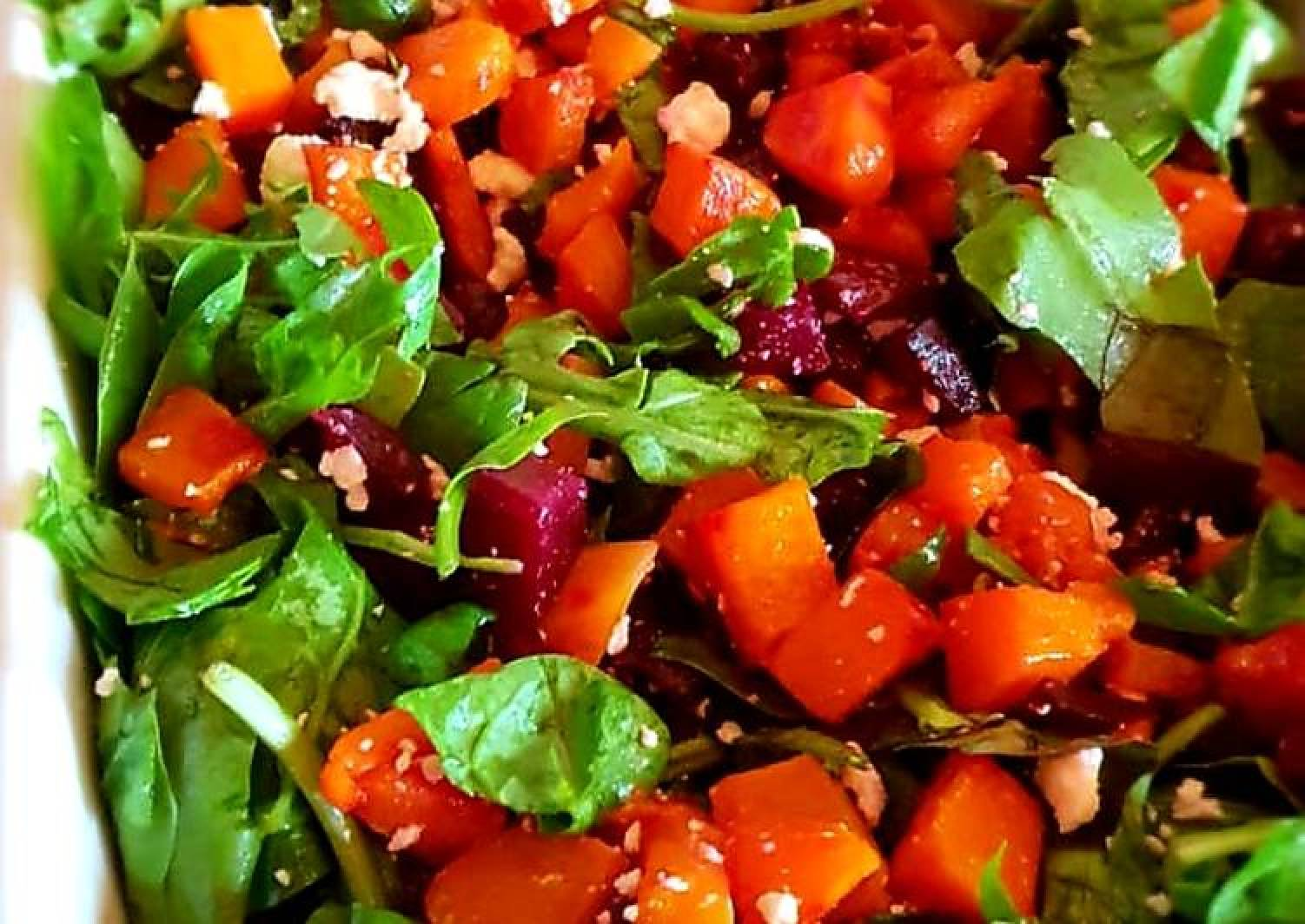 Butternut, beetroot, spinach and feta salad