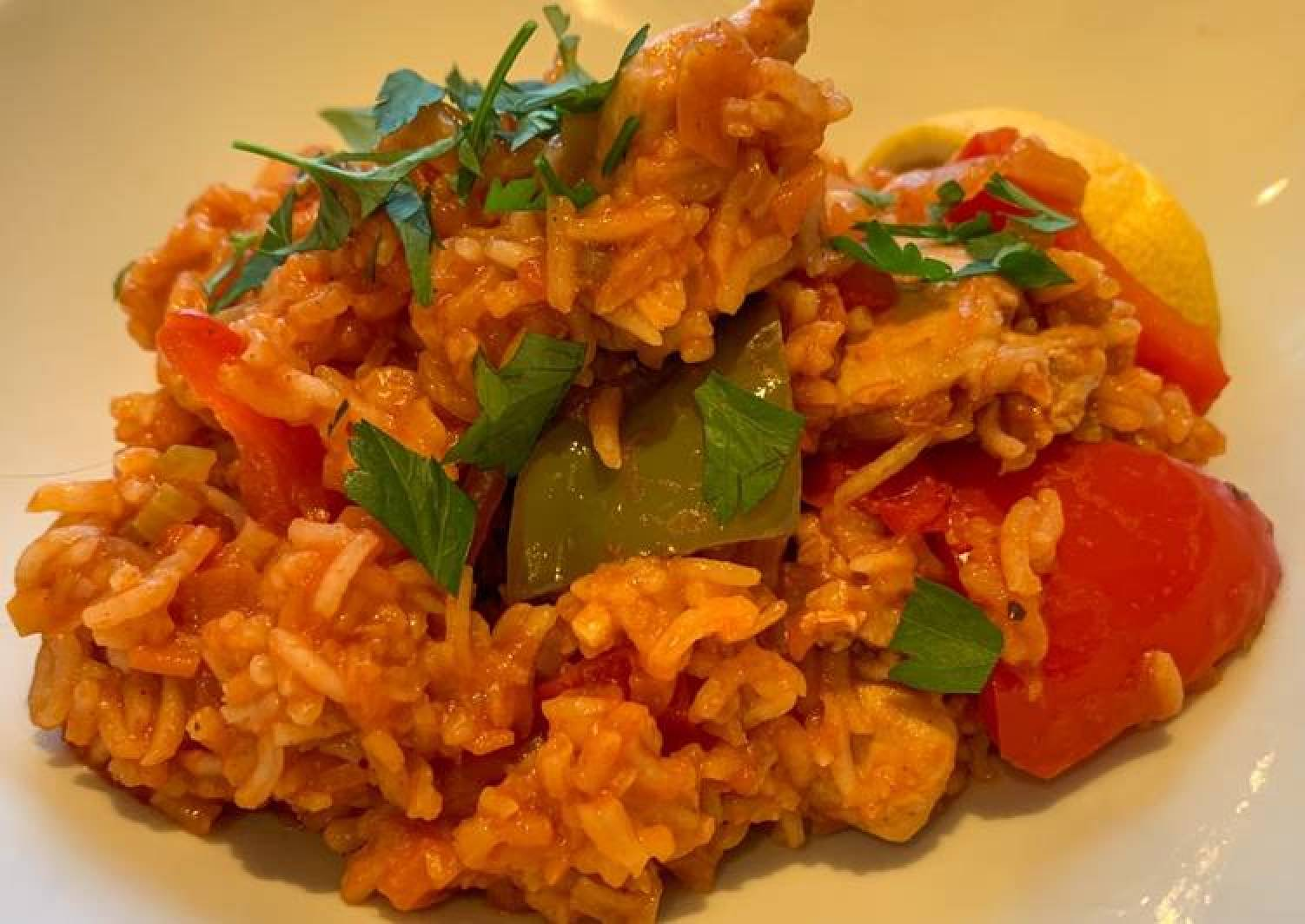 Spanish style tomato and chicken baked rice