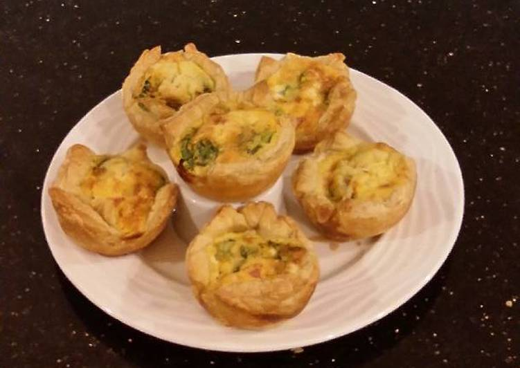 Individual Ham and Cheese Puff Pastry Quiche