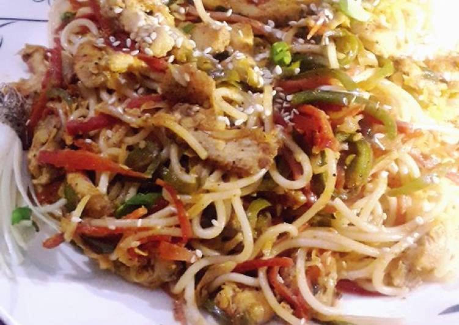 Chicken manchurian spaghetti