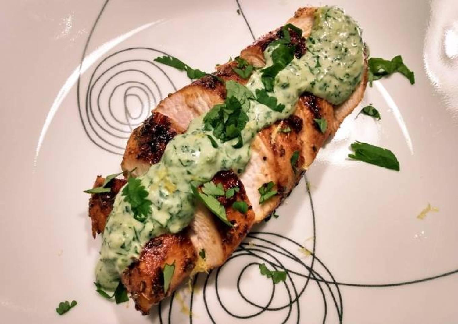 Pan-seared chicken with cilantro dill cream