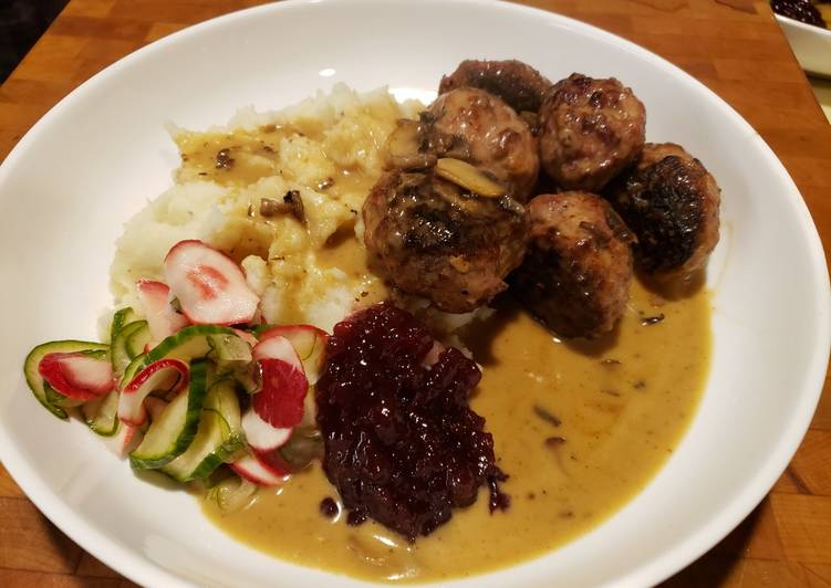 Swedish Meatballs in Gravy with Sweet Pickles and Lingonberry