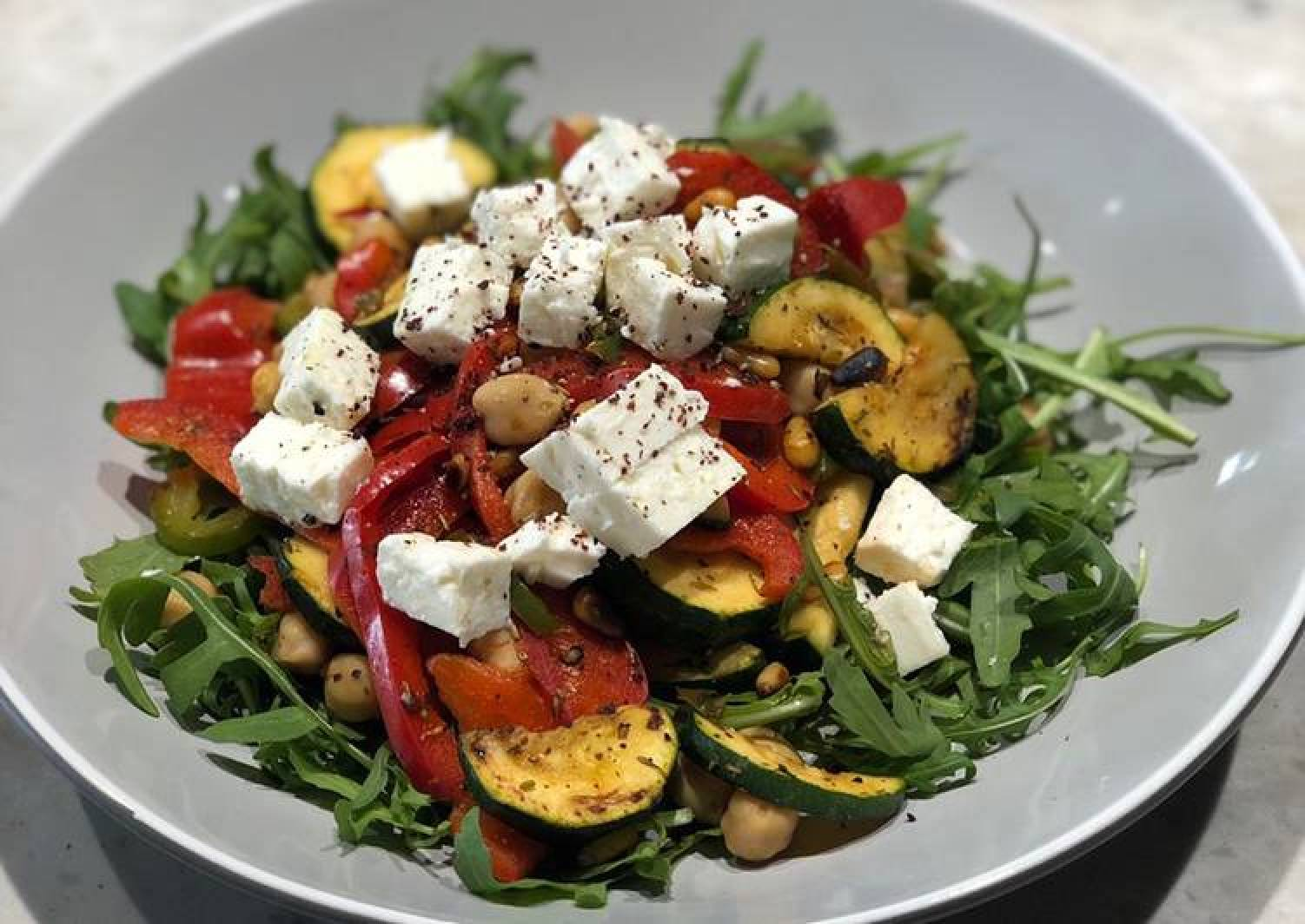 Mediterranean chickpea feta and grilled vegetable salad