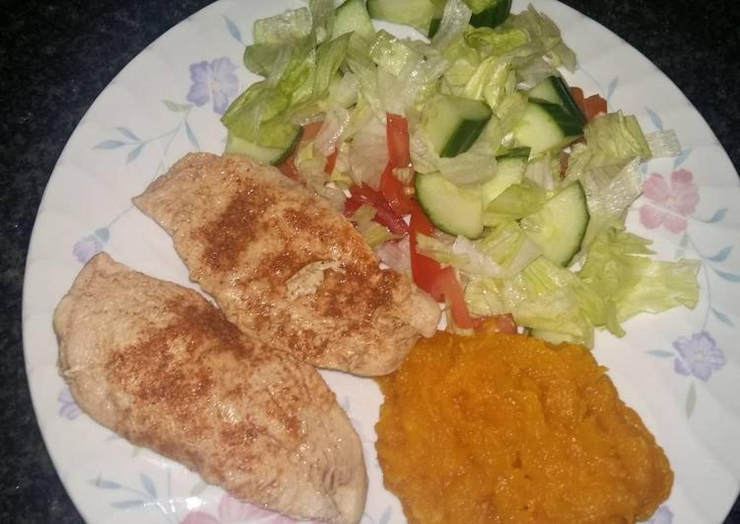 Chicken, pumpkin and salad