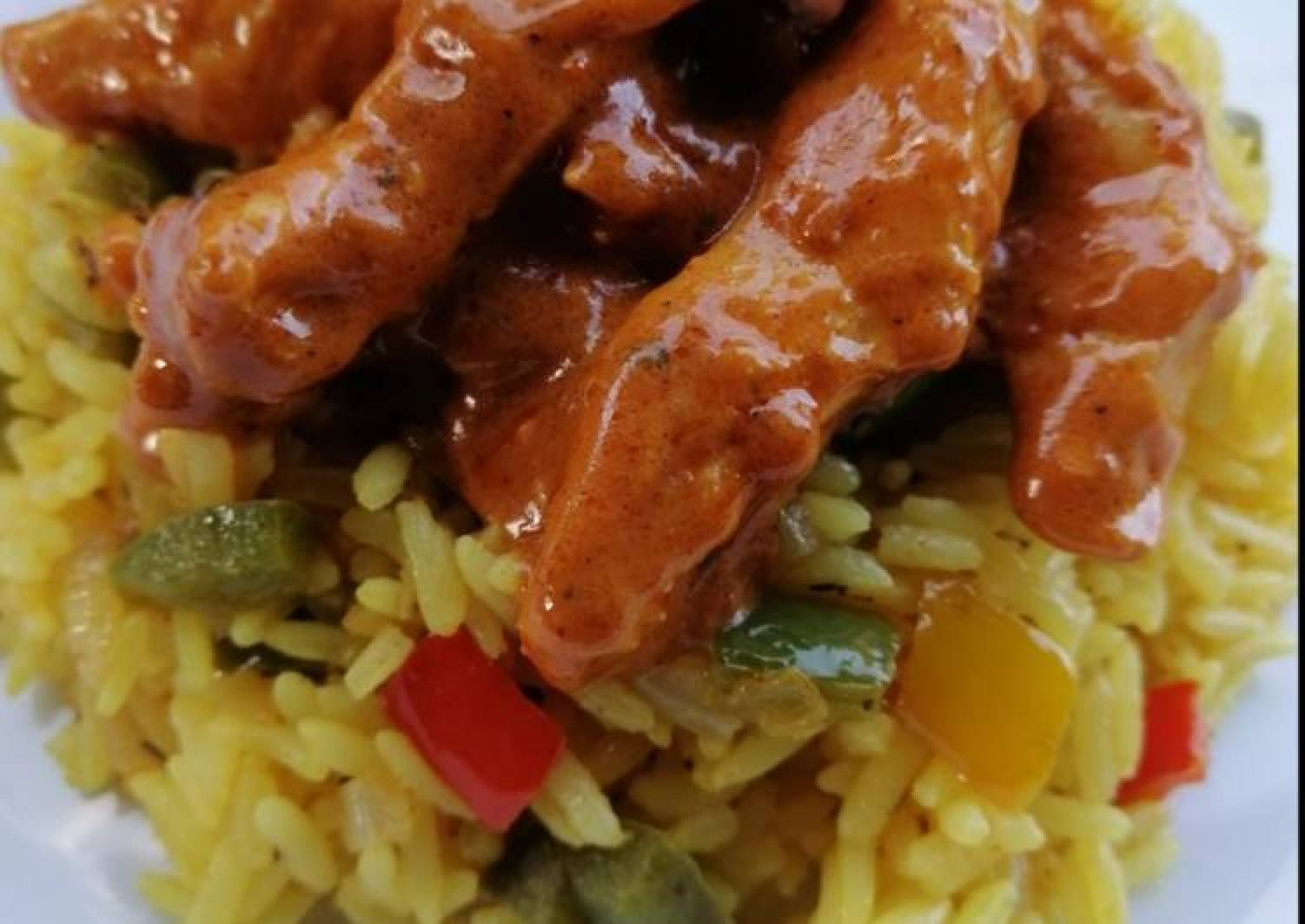 Nandos style Peri Chicken Strips and Spicy Rice