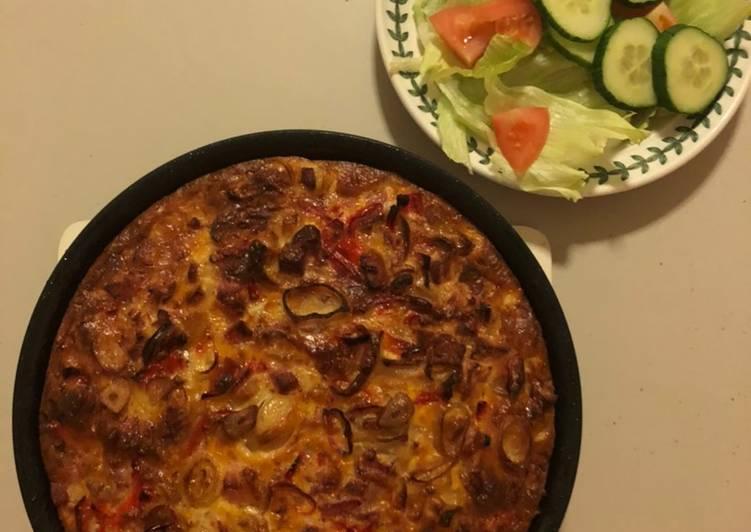 Use-up Ham, Shallot, Chili & Pepper Frittata